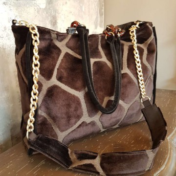 BIG-BAG - Giraffa - Borsa Tote in velluto operato