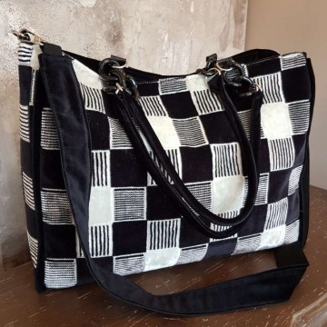 BIG-BAG - Blackandwhite - Borsa Tote in velluto